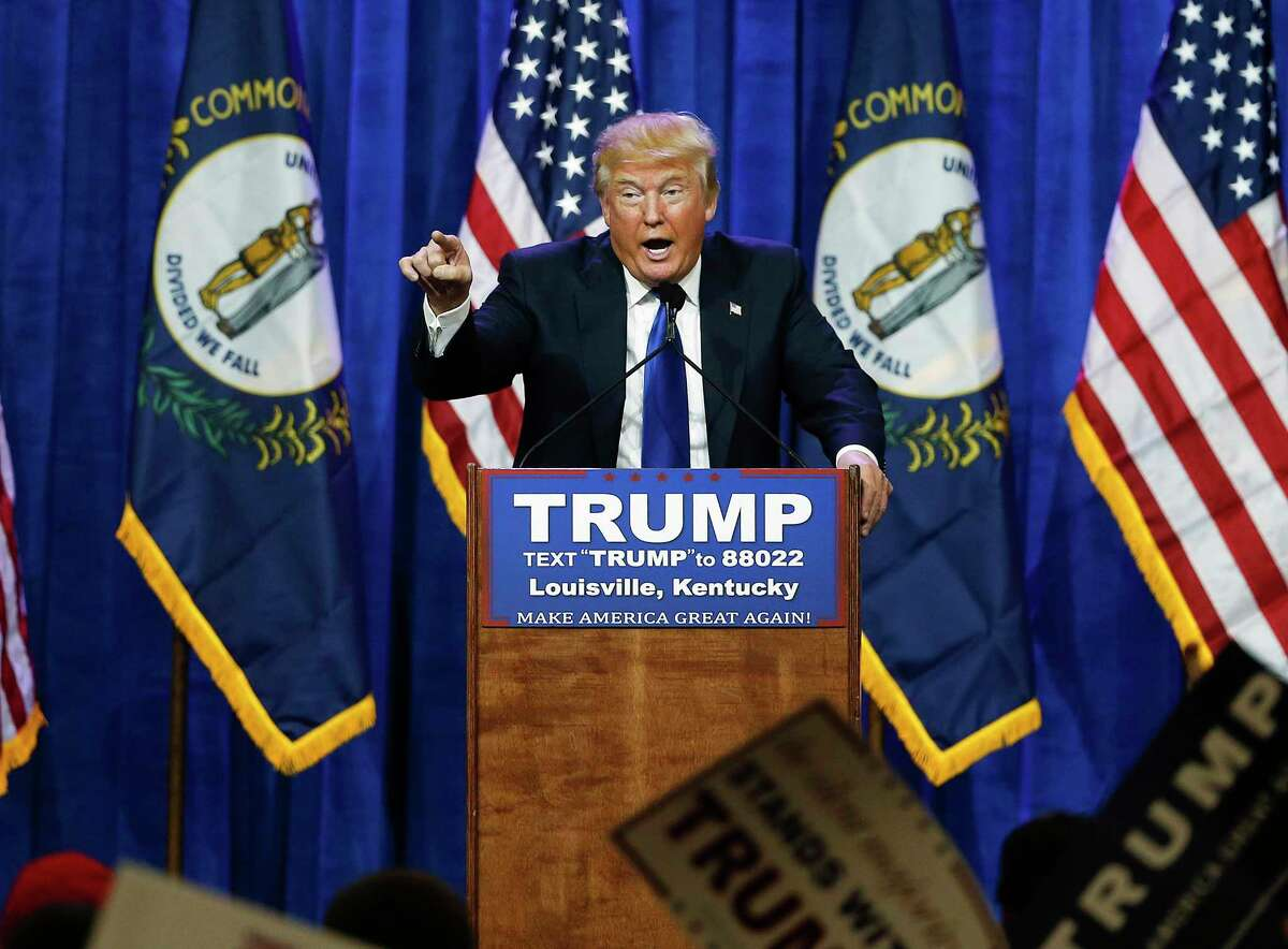 Then a Republican presidential candidate, Donald Trump speaks during a rally in Louisville, Ky. on March 1, 2016.