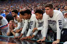 GLENDALE, AZ - APRIL 01: The Gonzaga Bulldogs bench looks on against the South Carolina Gamecocks during the 2017 NCAA Men's Final Four Semifinal at University of Phoenix Stadium on April 1, 2017 in Glendale, Arizona.  (Photo by Ronald Martinez/Getty Images)