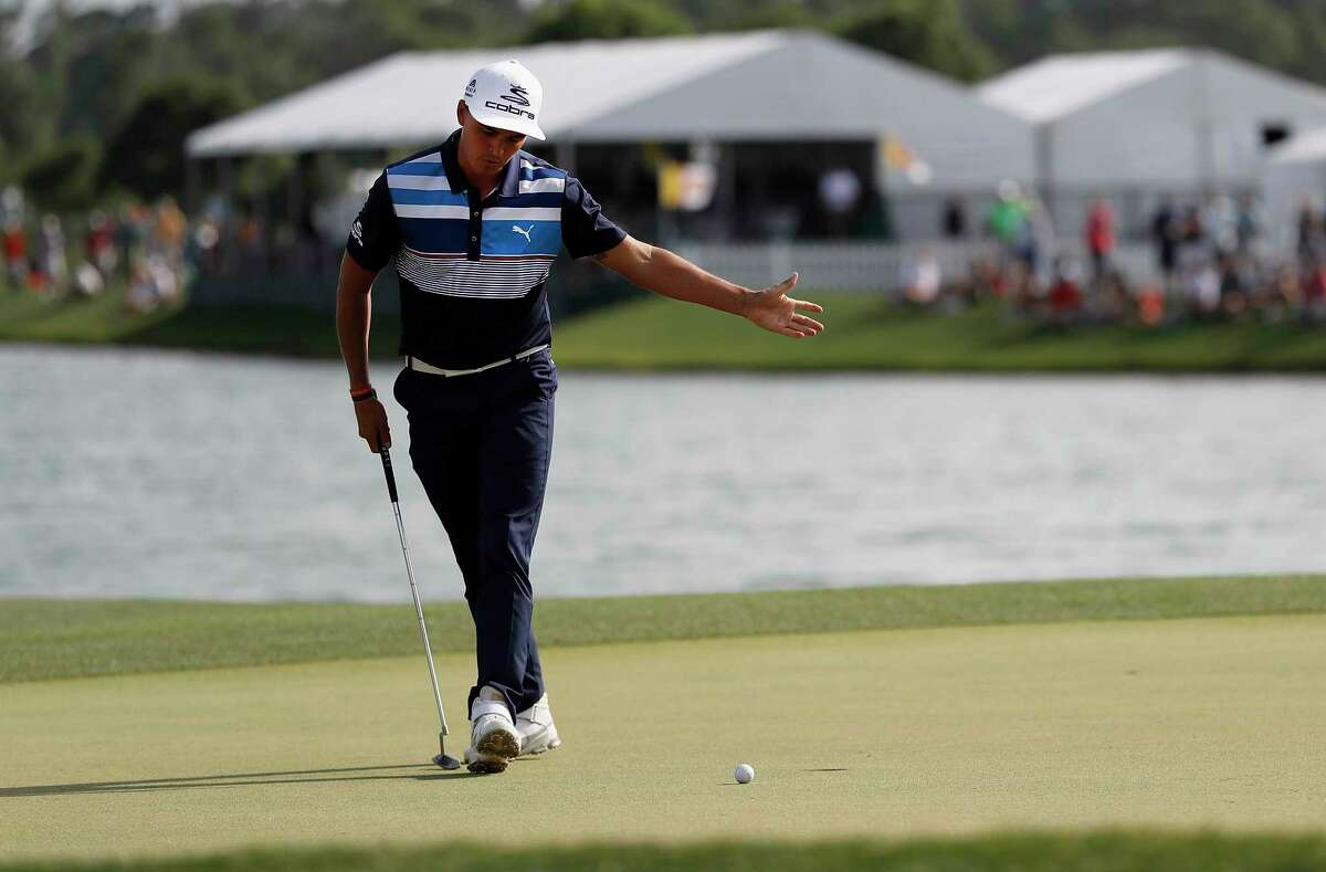 Rickie Fowler's four-putt effort on the 18th hole put a disappointing finish on his third round of the Shell Houston Open, even though he is in second place.