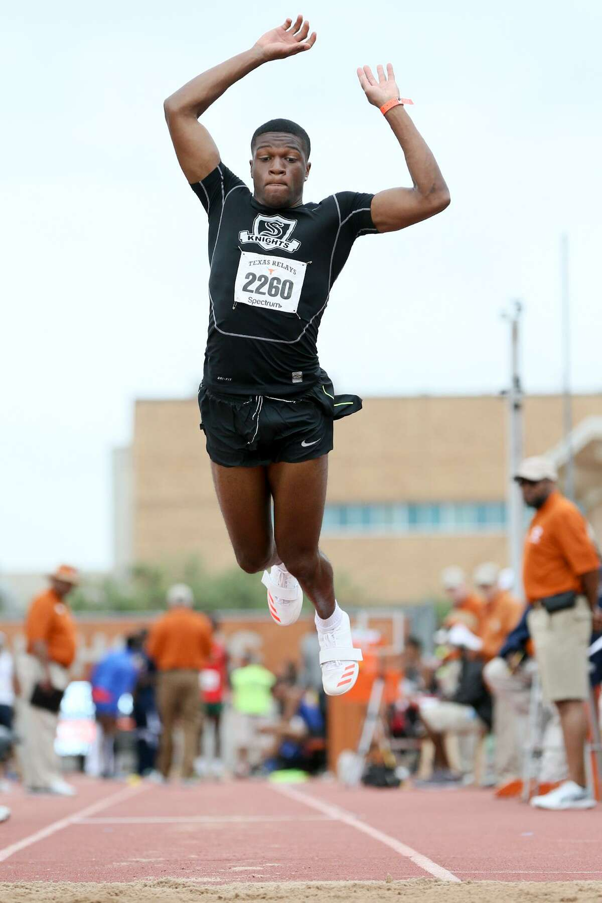 Steele's Tavian Carter jumps in the high school division II boys triple jump during the 2017 Texas Relays at Mike A. Myers Stadium in Austin on Saturday, April 1, 2017. Carter finished sixth in the event with a jump of 46 feet, 11.50 inches. MARVIN PFEIFFER/ mpfeiffer@express-news.net