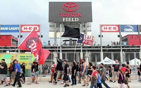 Mission City Firm members and other fans prepare to enter Toyota Field for the San Antonio FC vs. LA Galaxy II soccer match on April 1, 2017.