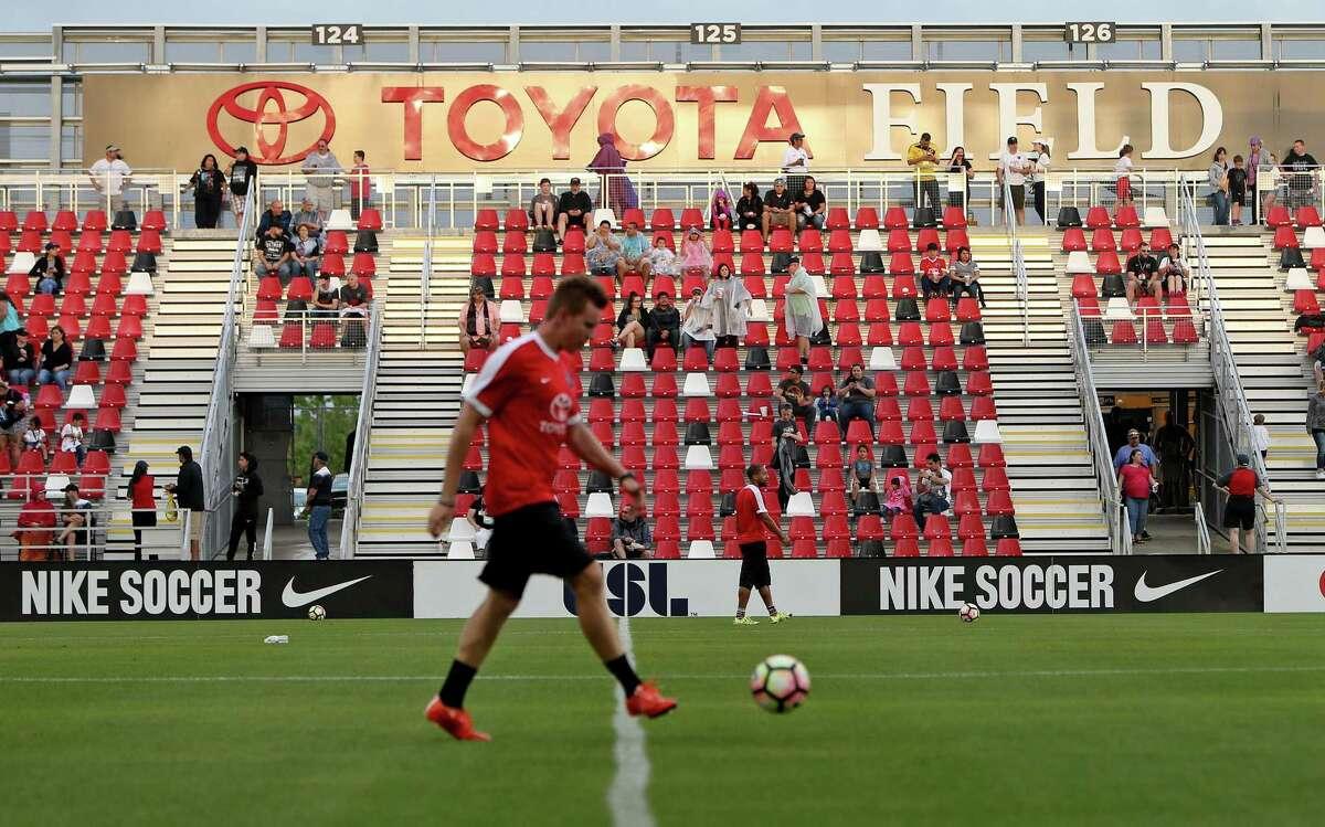 Fans enter Toyota Field for the San Antonio FC and LA Galaxy II soccer match Saturday April 1, 2017.