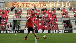 Fans enter Toyota Field for the San Antonio FC vs. LA Galaxy II soccer match on April 1, 2017.