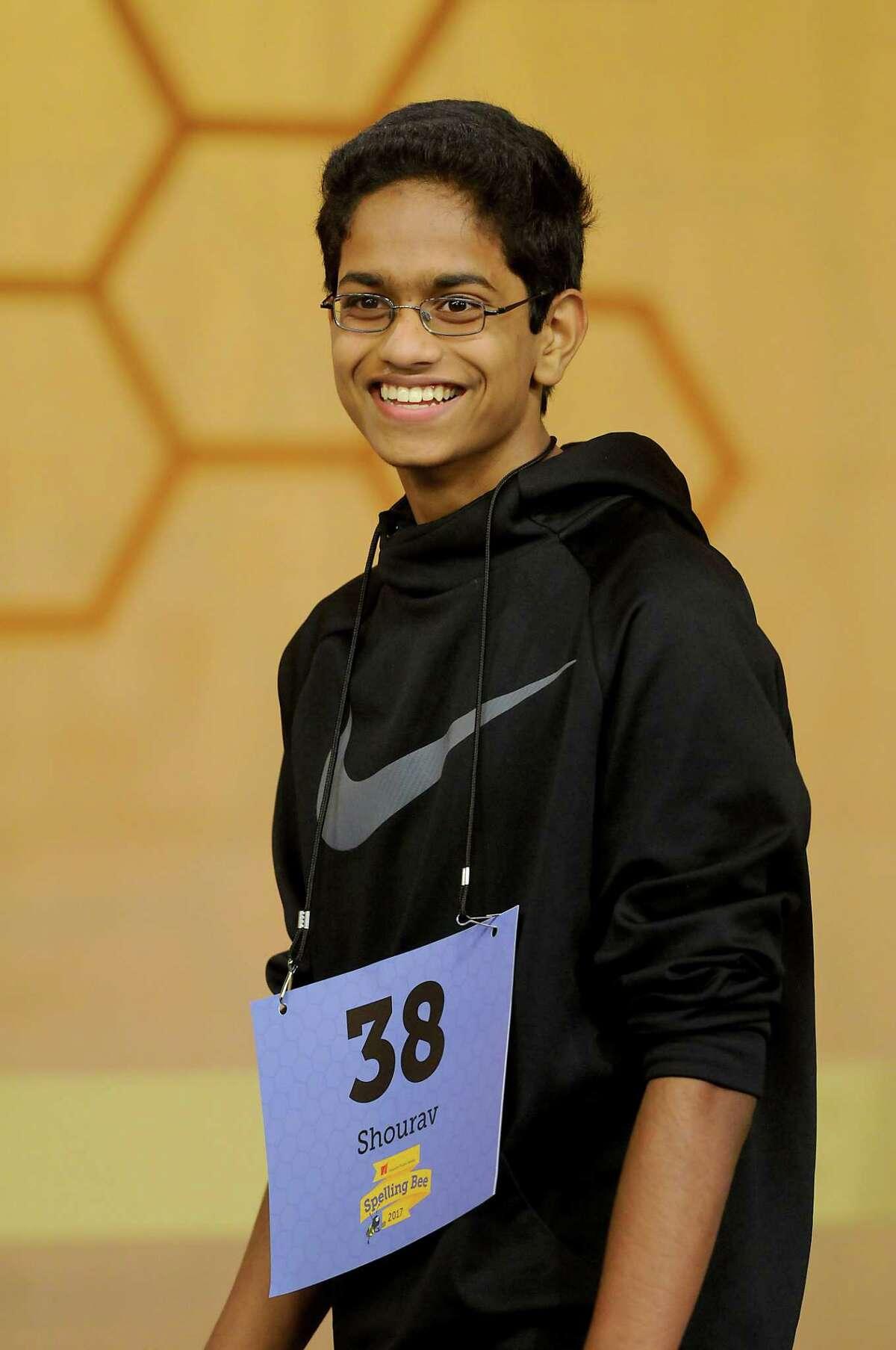 "Shourav Dasari of McCullough Junior High in The Woodlands correctly spelled ""rafraichissoir"" to his win Saturday's spelling bee."