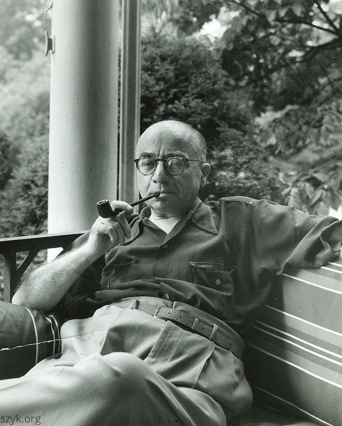 Arthur Szyk on his porch in New Canaan, Conn. in 1946.