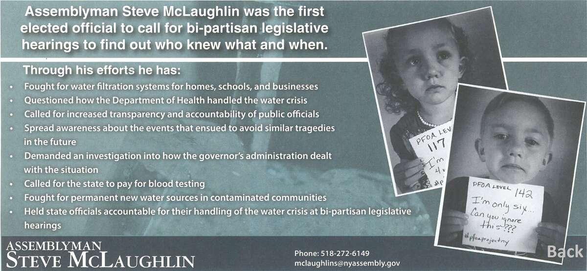 Backside of mailer from Assemblyman Steve McLaughlin.