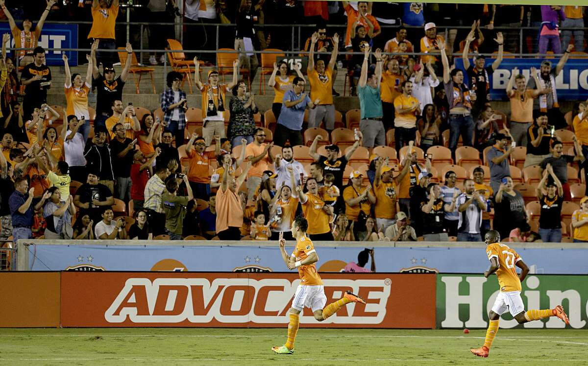 Houston Dynamo forward Erick Torres (9) celebrates his third goal of the night against the New York Red Bulls in the second half on April 1, 2017 at BBVA Stadium in Houston, TX. Dynamo won 4 to 1.(Photo: Thomas B. Shea/For the Chronicle)