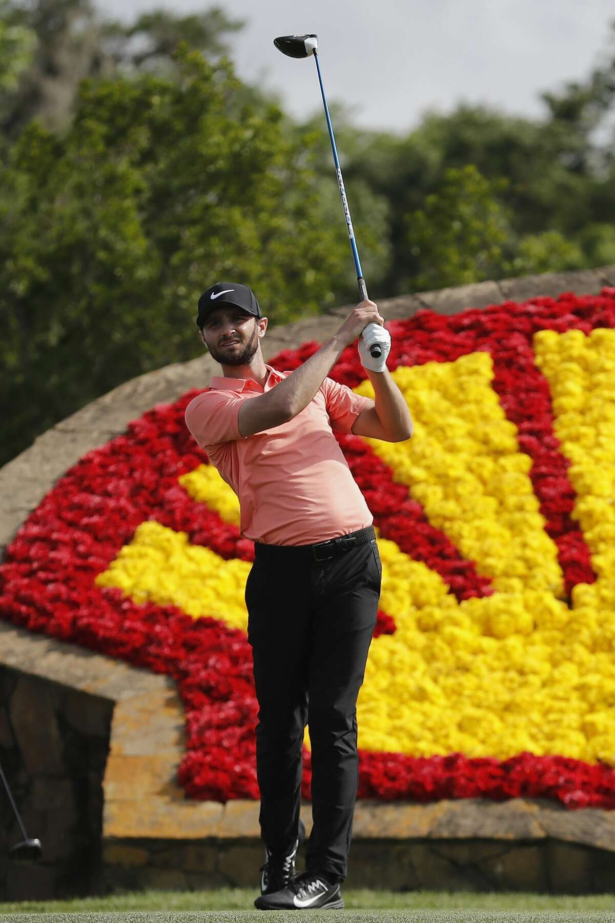 Kyle Stanley tees off on the 18th hole during the third round of the Shell Houston Open on Saturday, April 1, 2017 at The Golf Club of Houston in Humble Texas.