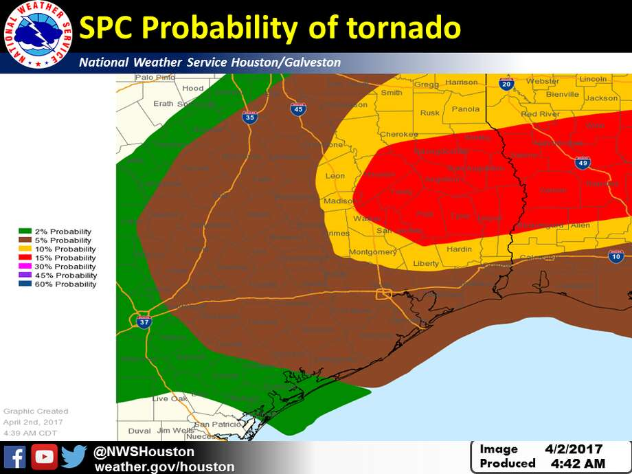 Houston has a 5 percent probability of tornadoes Sunday. Photo: National Weather Service