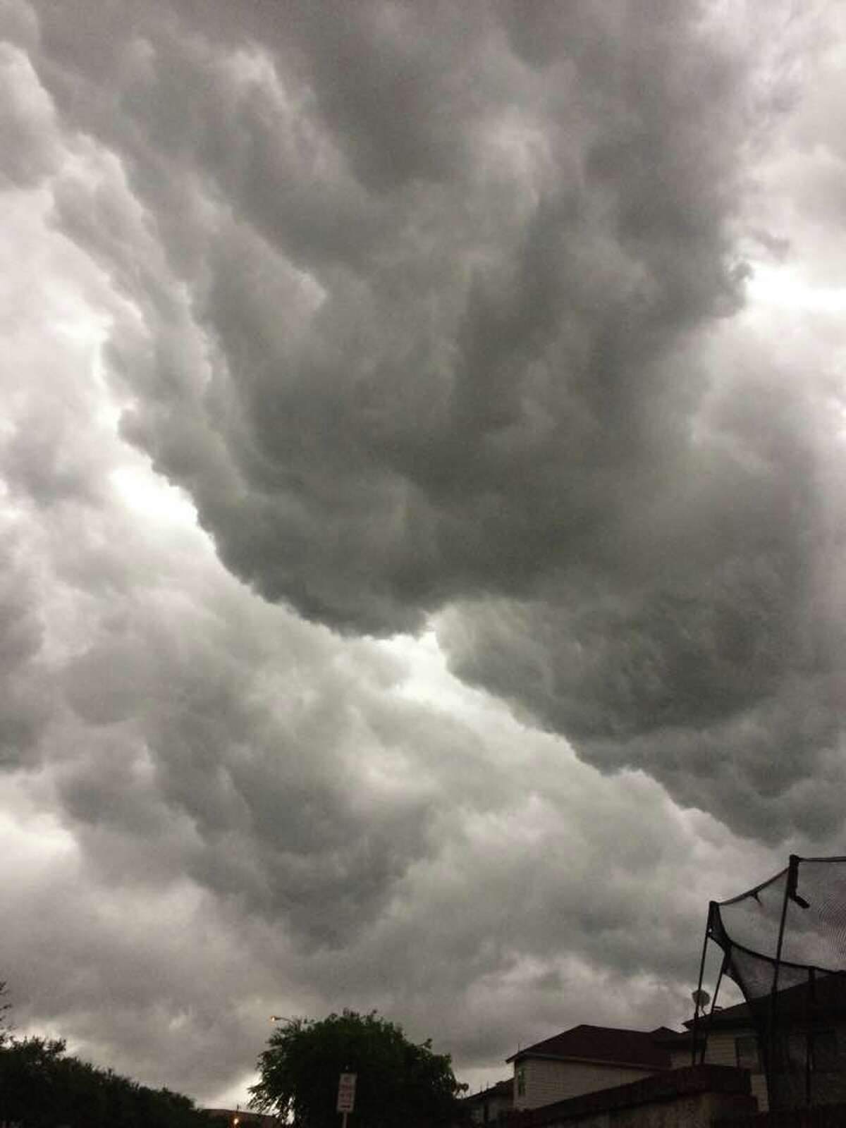 Ominous clouds over San Antonio during thunderstorms Sunday, April 2, 2017.