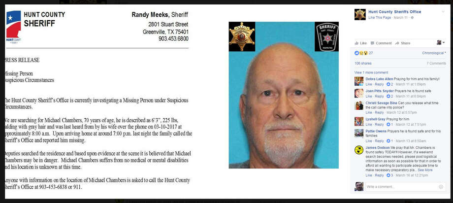 The family of 70-year-old Michael Chambers is bringing in an outside group on Sunday, May 6, 2017, to help search for the missing retired firefighter. Chambers was last seen in March leaving a Walmart in Hunt County.Scroll through the gallery to see other missing persons cases in Texas Photo: Hunt County Sheriff's Office
