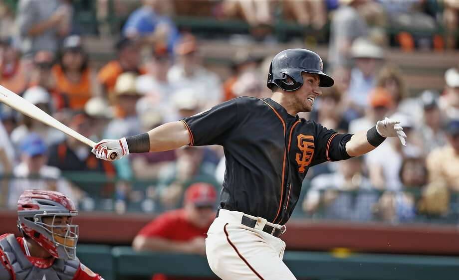 San Francisco Giants second baseman Joe Panik follows through on a swing against the Los Angeles Angels during the fifth inning of a spring training baseball game Wednesday, March 15, 2017, in Scottsdale, Ariz. (AP Photo/Ross D. Franklin) Photo: Ross D. Franklin, Associated Press
