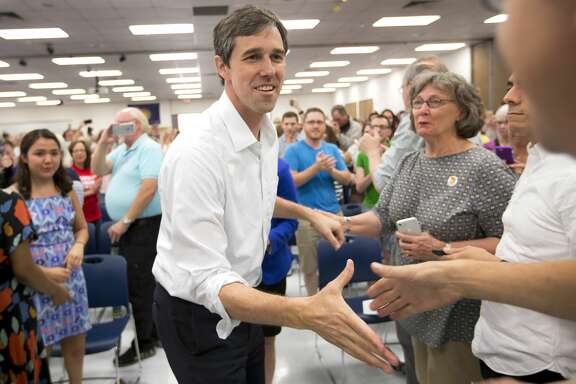 Rep. Beto O'Rourke, D-Texas, greets supporters during a campaign stop in his bid for a U.S. Senate seat on Sunday, April 2, 2017, in Houston. The little-known El Paso congressman, 44, announced Friday that he is challenging incumbent Sen. Ted Cruz, R-Texas, in 2018, in an uphill battle in a state that has no elected a Democrat statewide since 1994. ( Brett Coomer / Houston Chronicle )