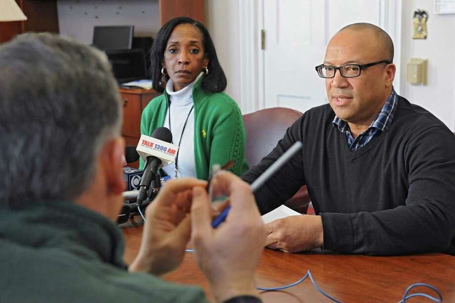 Albany school board president Kenny Bruce, right, and acting district superintendent Kim Wilkins speak to media about the outcome of Tuesday's $180M Albany High referendum on Wednesday, Feb. 10, 2016 in Albany, N.Y.(Lori Van Buren / Times Union) Photo: Lori Van Buren / 10035379A