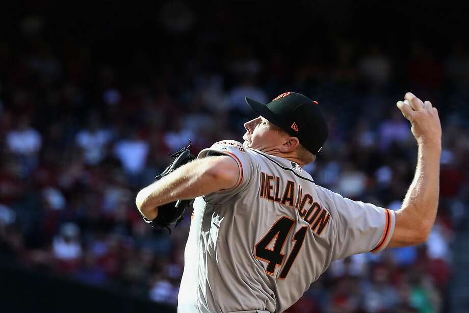 Relief pitcher Mark Melancon #41 of the San Francisco Giants pitches against the Arizona Diamondbacks during the ninth inning of the MLB opening day game at Chase Field on April 2, 2017 in Phoenix, Arizona. The Diamondbacks defeated the Giants 6-5. Photo: Christian Petersen, Getty Images