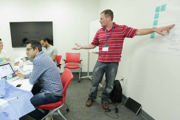 Joseph Hollmann of Barcelona talks about some the team's ideas during the Texas Medical Center Biodesign Hackathon work on solving medical problems on Saturday, April 1, 2017, in Houston. ( Elizabeth Conley / Houston Chronicle )