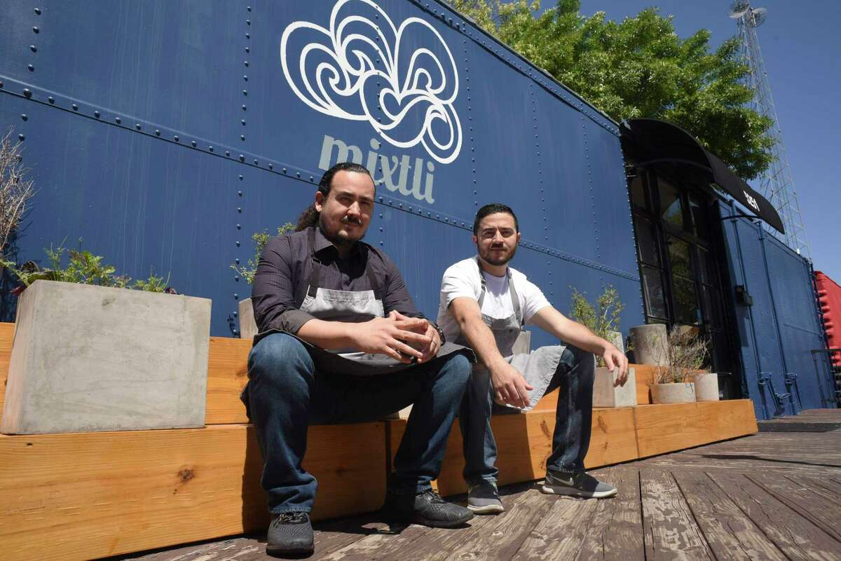 Rico Torres, left, and Diego Galicia, co-owners and chefs at the modernist restaurant Mixtli, will be bringing a new concept called Kumo to the converted boxcar in Olmos Park where Mixtli got its start. Mixtli is moving to Southtown in 2021.