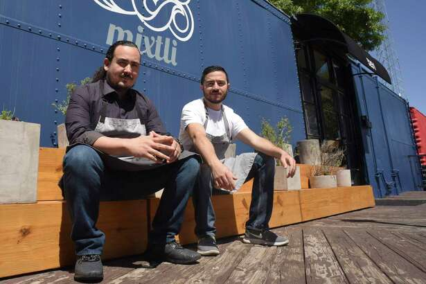 Rico Torres, left, and Diego Galicia, are the co-owners and chefs at Mixtli restaurant, located at 5251 McCullough Ave.