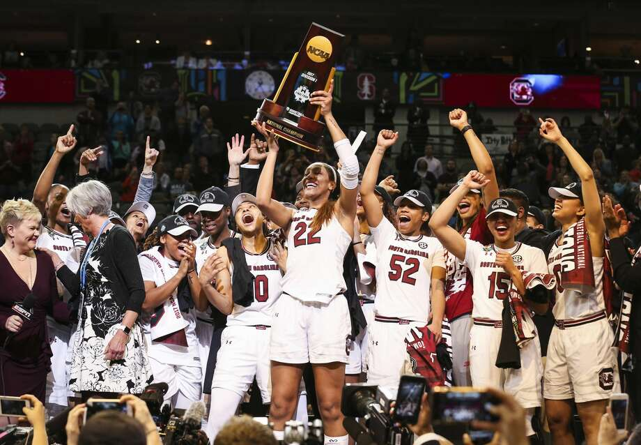 South Carolina Gamecocks forward A'ja Wilson (22) holds the trophy after South Carolina defeated Mississippi State 67-55 to win the NCAA Women's Basketball Championship on Sunday, April 2, 2017 at American Airlines Center in Dallas, Texas. (Richard W. Rodriguez/Fort Worth Star-Telegram/TNS) Photo: Richard W. Rodriguez/TNS