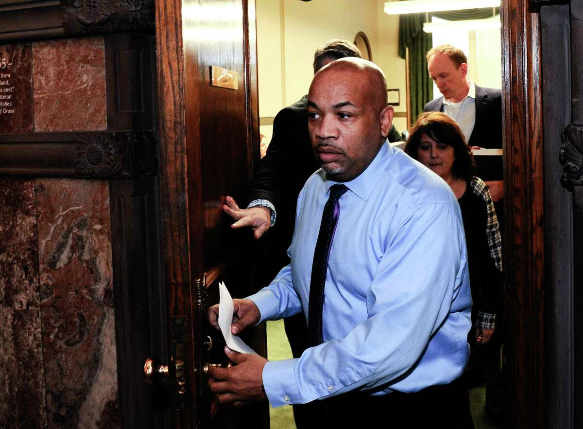 New York Assembly Speaker Carl Heastie, D-Bronx, leaves Gov. Andrew Cuomo's office as legislative leaders work on the state budget at the state Capitol, Sunday, April 2, 2017, in Albany, N.Y. (AP Photo/Hans Pennink) ORG XMIT: NYHP105
