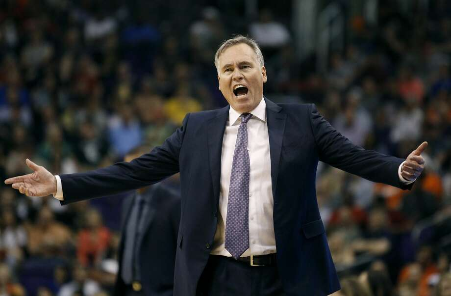 Houston Rockets coach Mike D'Antoni pleads with an official for a foul call during the second half of the team's NBA basketball game against the Phoenix Suns, Sunday, April 2, 2017, in Phoenix. The Rockets defeated the Suns 123-116. (AP Photo/Ralph Freso) Photo: Ralph Freso/Associated Press