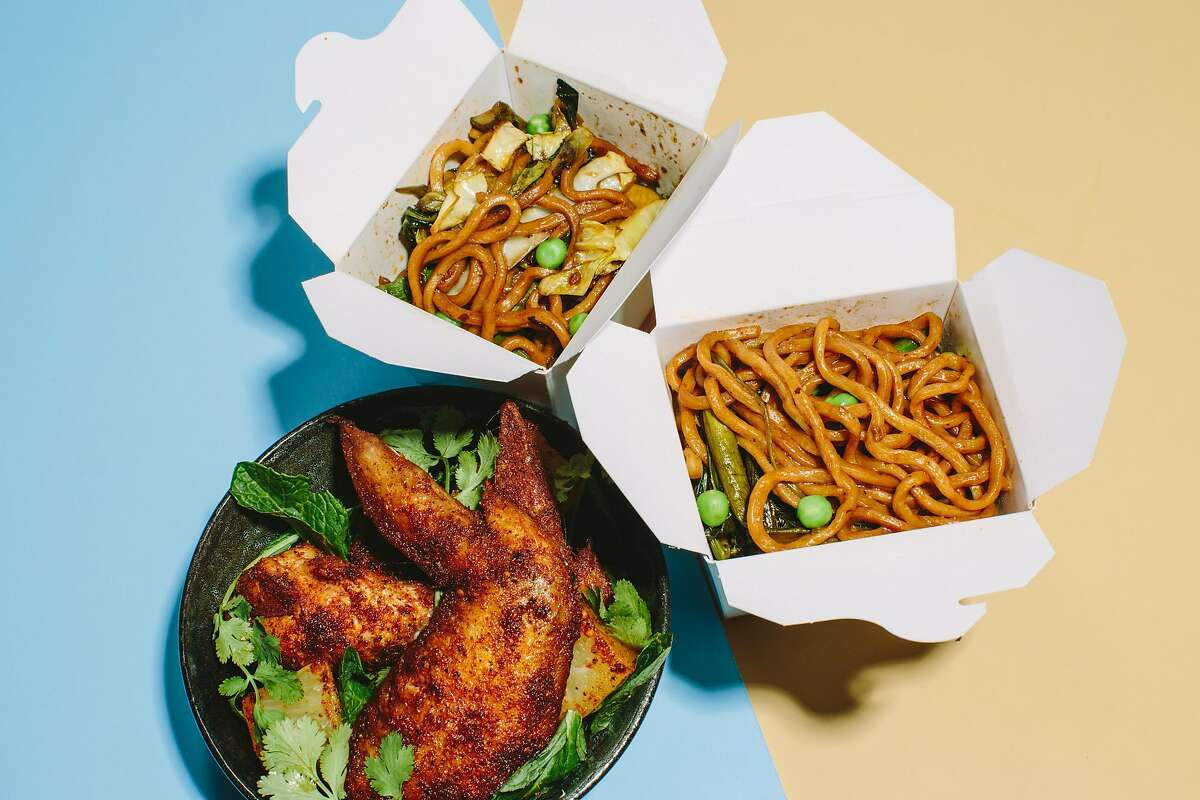 The Jerked Chicken Wings and Trini Chow Mein at Over Proof, the reservations-only cocktail tasting menu experience in the upper level of ABV bar on March 30, 2017 in San Francisco.