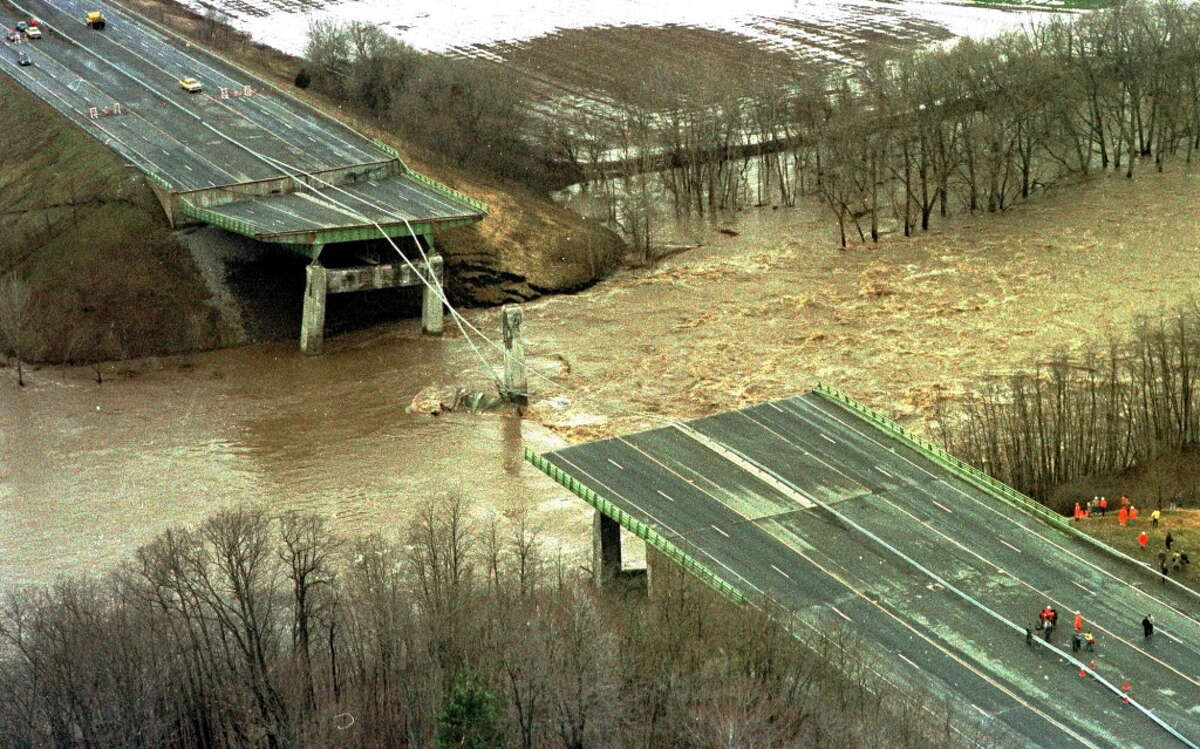 FILE--This is a April 5, 1987, file photo showing the collapsed New York State Thruway bridge over the Schoharie Creek at Amsterdam, N.Y. The bridge collapse killed 10 people who were traveling on the Thruway on the rainy Sunday morning. (AP Photo/ Jim McKnight, file)