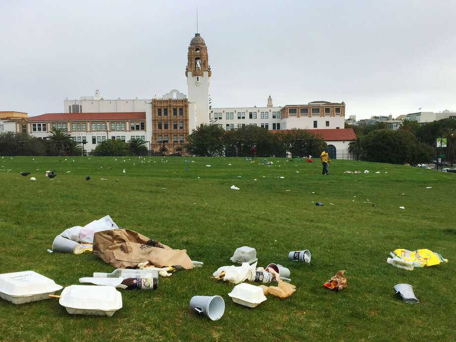 Dolores Park was littered with trash on the morning of Sunday, April 2, 2017, after gorgeous weather the day before attracted crowds.  Photo: Amy Graff