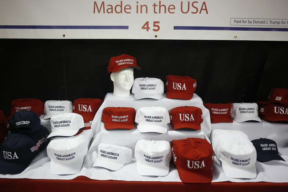 """Make America Great Again"" hats are displayed for sale before the start of a rally for President Trump at the Kentucky Exposition Center in Louisville, Ky., on March 20. Photo: Luke Sharrett, Bloomberg"