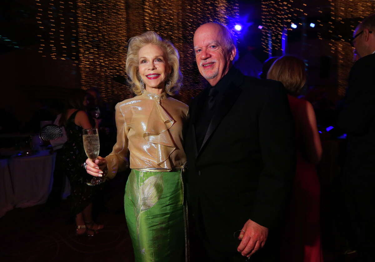 Lynn Wyatt and guest at the Society of Performing Arts 50th anniversary gala on Saturday, April 1, 2017, at the Wortham Center . (Annie Mulligan / Freelance)