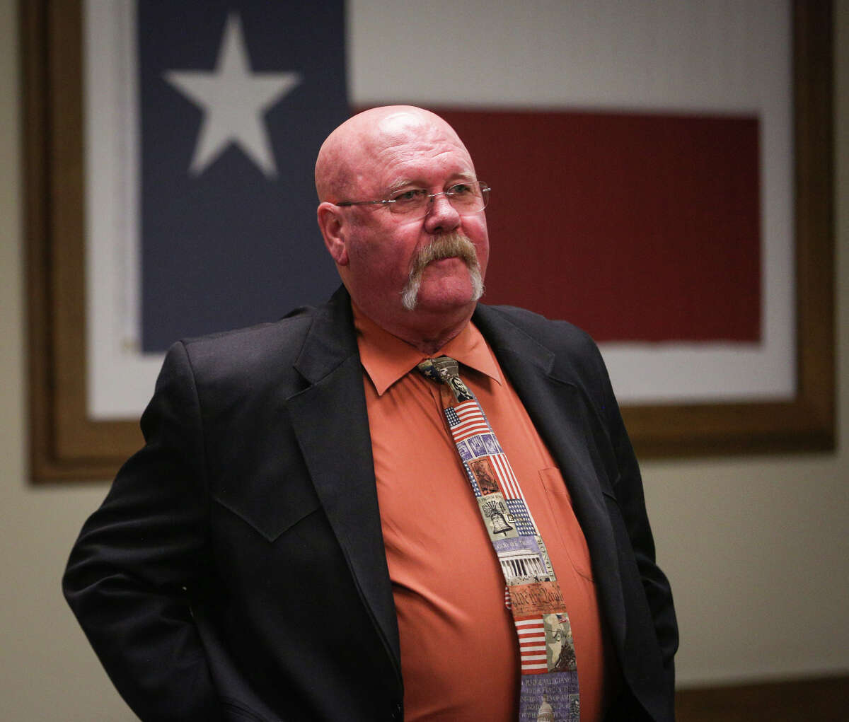 Precinct 2 Commissioner Charlie Riley enters the 221st District Court before the trial on Monday, April 3, 2017.