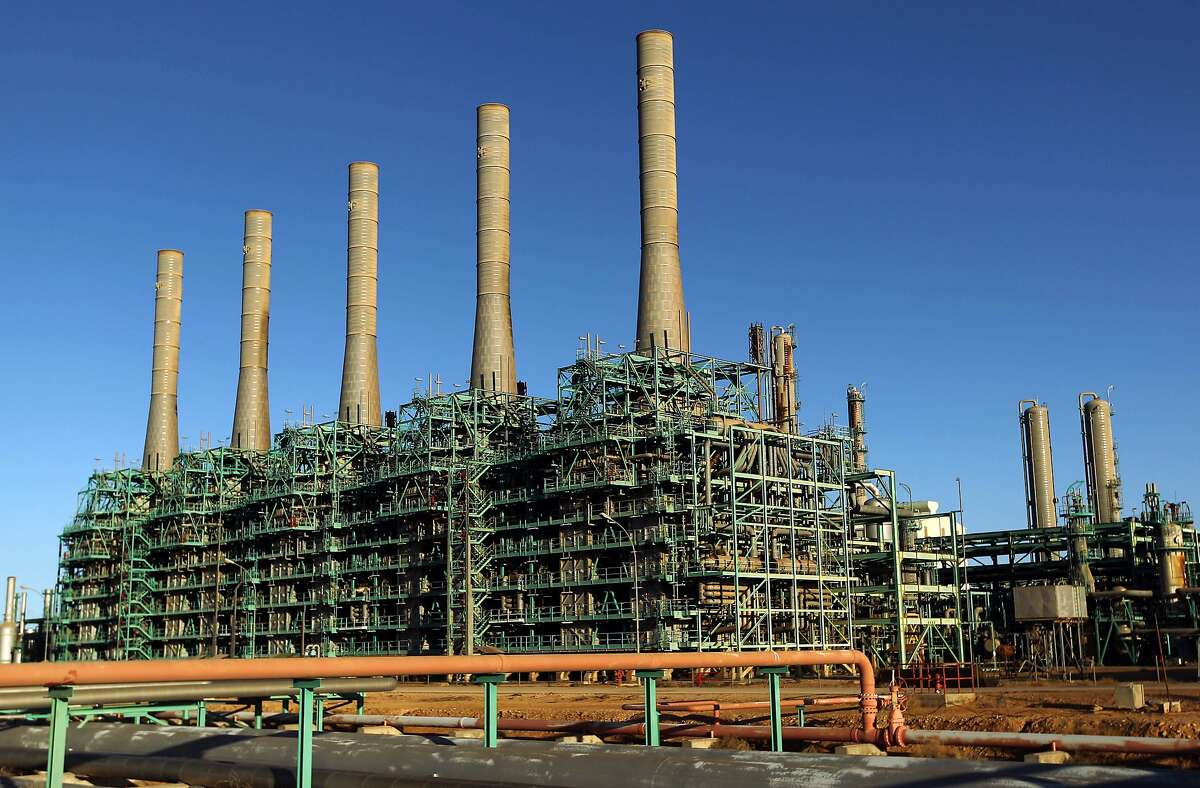 (FILES) This file photo taken on January 11, 2017 shows a general view shows an oil refinery in Libya's northern town of Ras Lanuf on January 11, 2017.