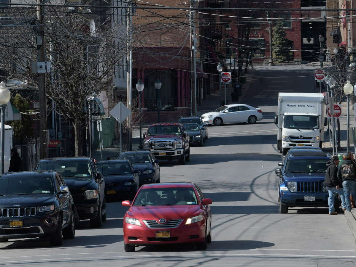 The view of Caroline Street from Henry Street looking west Monday Feb. 27, 2017 in Saratoga Springs, N.Y. (Skip Dickstein/Times Union)