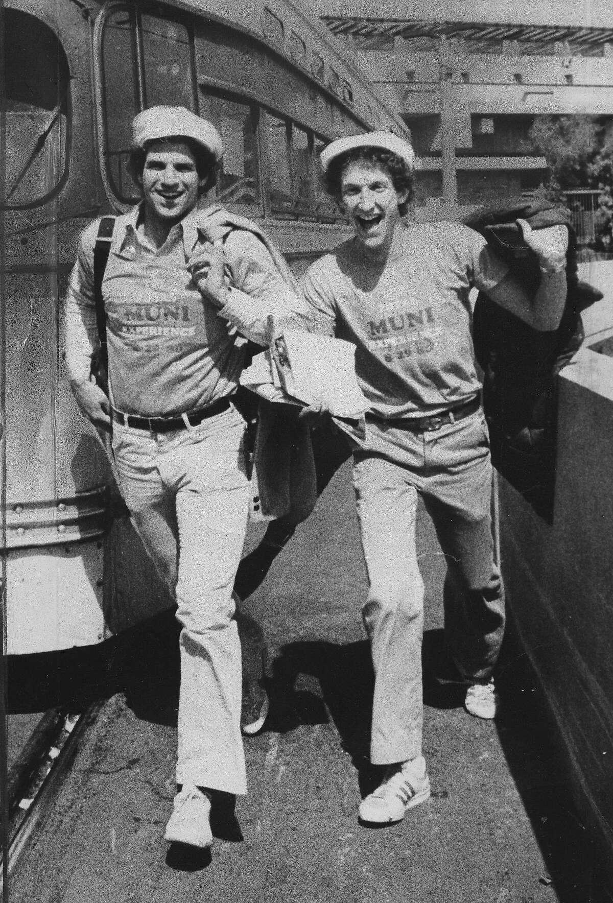Andy Coblentz (l) and Larry Baer ride the Muni Photo ran 8/20/1980