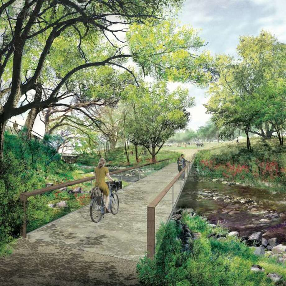 A design by Michael Van Valkenburgh Associates routes pedestrian and bicycle traffic along Waller Creek and calls for a number of activity centers along the pathway.  Photo: Waller Creek Conservancy