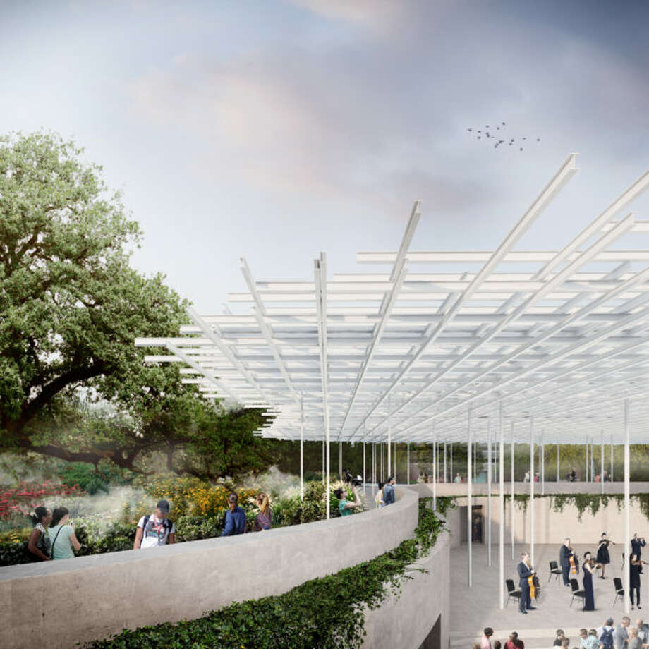 Waterloo Park along Waller Creek will include an amphitheater designed by Thomas Phifer and Partners and a great lawn that arcs over the creek intake facility, set among winding paths with Hill Country plantings. Photo: Waller Creek Conservancy