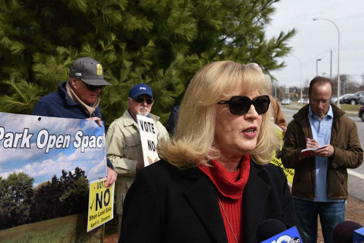 Susan Burton, vice president of the Friends of Clifton Park Open Space, speaks during a press conference last April about the Shenendehowa land deal with BBL, which voters soundly rejected in a referendum. (Will Waldron/Times Union)
