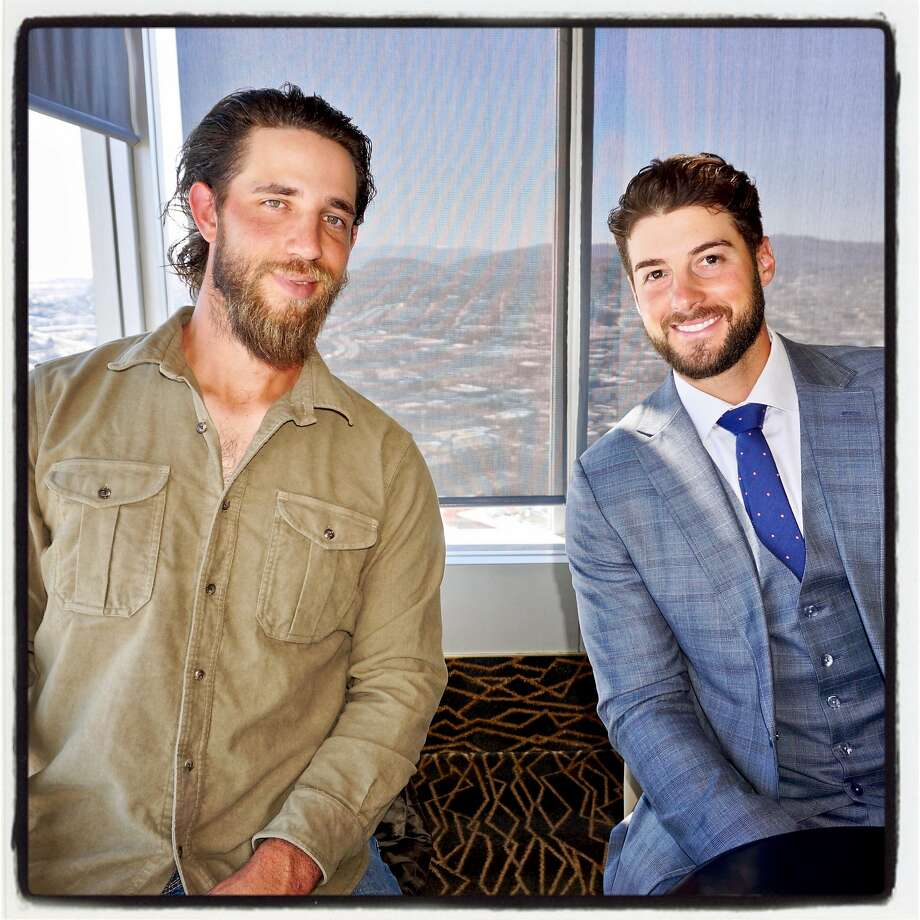 S.F. Giants Madison Bumgarner (left) and George Kontos at the Play Ball Lunch. Photo: Catherine Bigelow, Special To The Chronicle