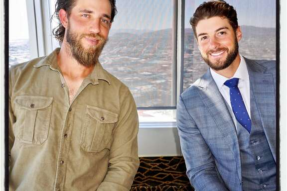 SF Giants pitchers Madison Bumgarner (left) and George Kontos at the Play Ball Lunch. March 31, 2017.