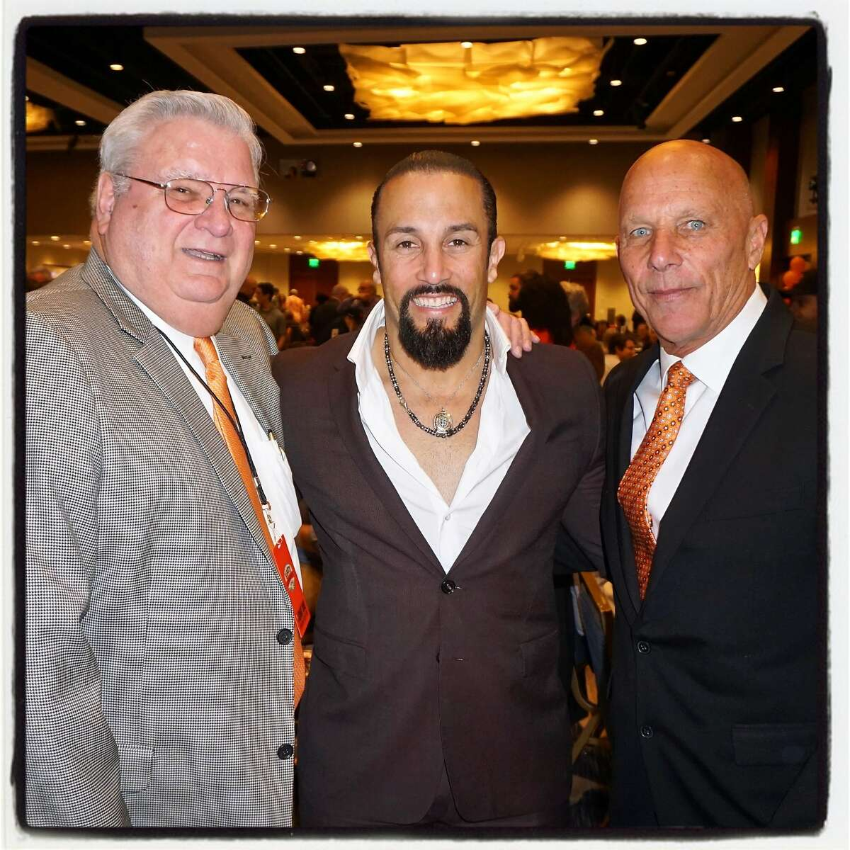 SF Giants owner Larry Nibbi (left) with former Giant Andres Torres and MLB announcer Tim Flannery at the Play Ball Lunch. March 31, 2017.