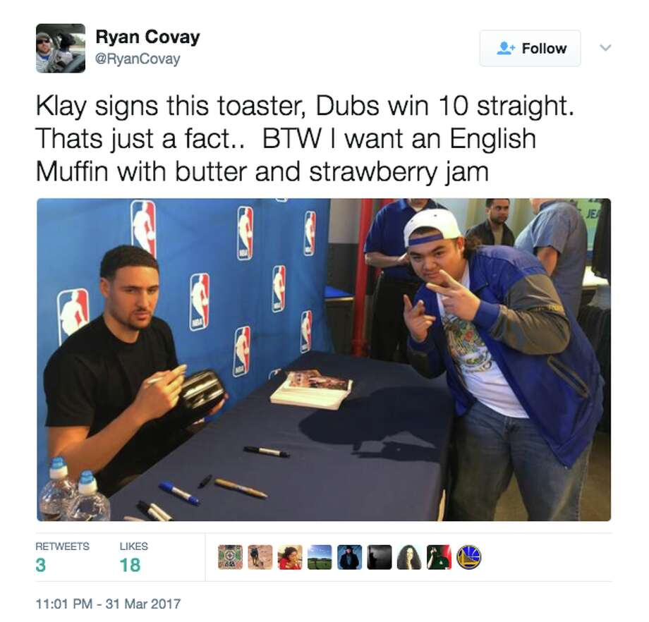 Warriors fans are crediting Klay Thompson's toaster moment with sparking the team's win streak. Photo: Screenshot Via Twitter