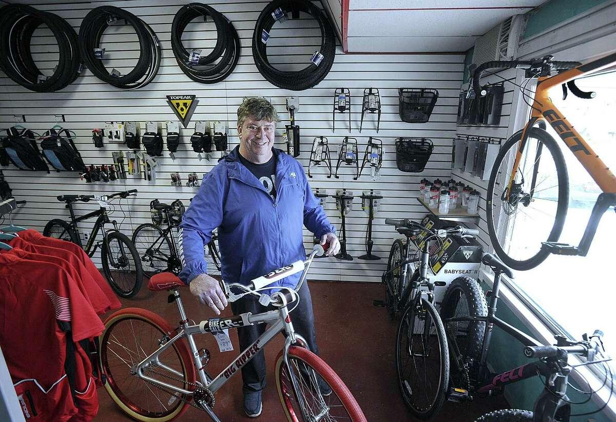 Ken Alder is the owner of Bike Shop Ken on Sugar Hollow Road in Danbury. Photo Monday, April 3, 2017.