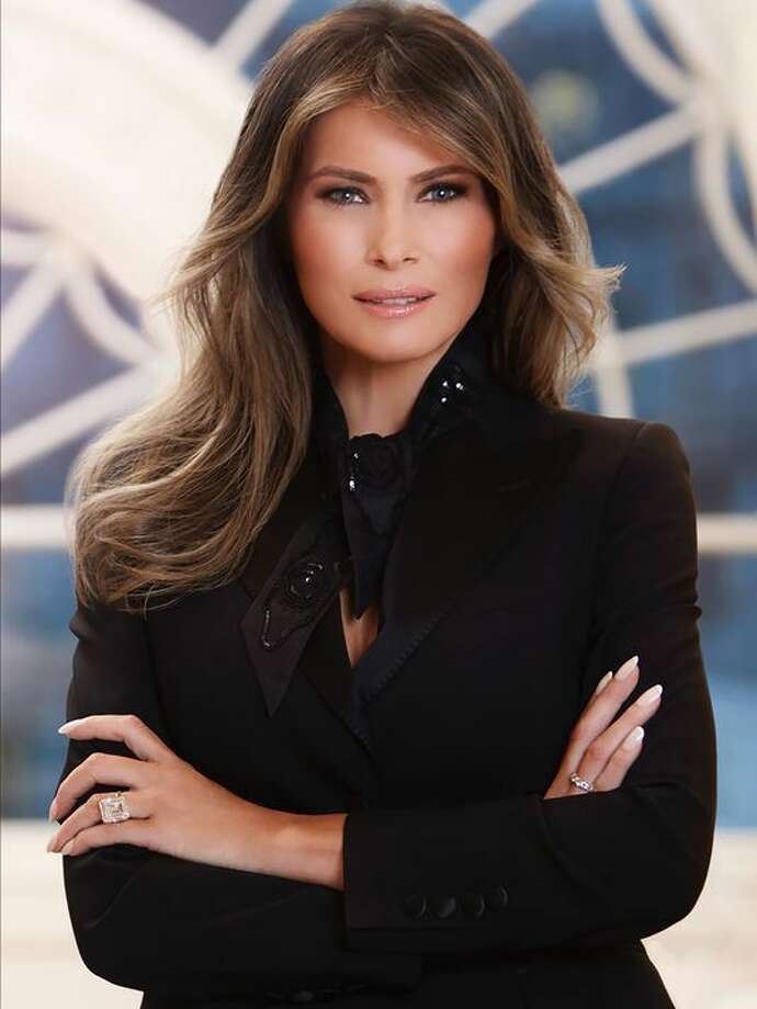 The official White House portrait of First Lady Melania Trump, released on April 3.