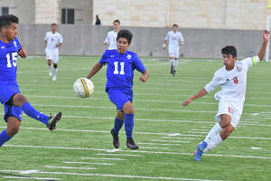 Junior Rogelio Lopez (8) and the Cypress Lakes Spartans defeated Cinco Ranch in the area playoffs to advance to the regional quarterfinals this week.