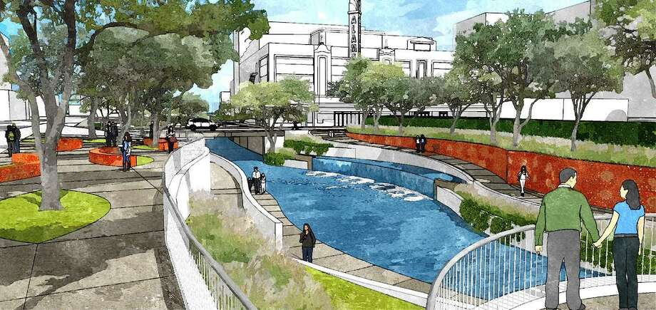An artist's rendering of San Pedro Creek, which runs alongside the Alameda Theater and will undergo a transformation into an urban linear park. Photo: Courtesy City Of San Antonio
