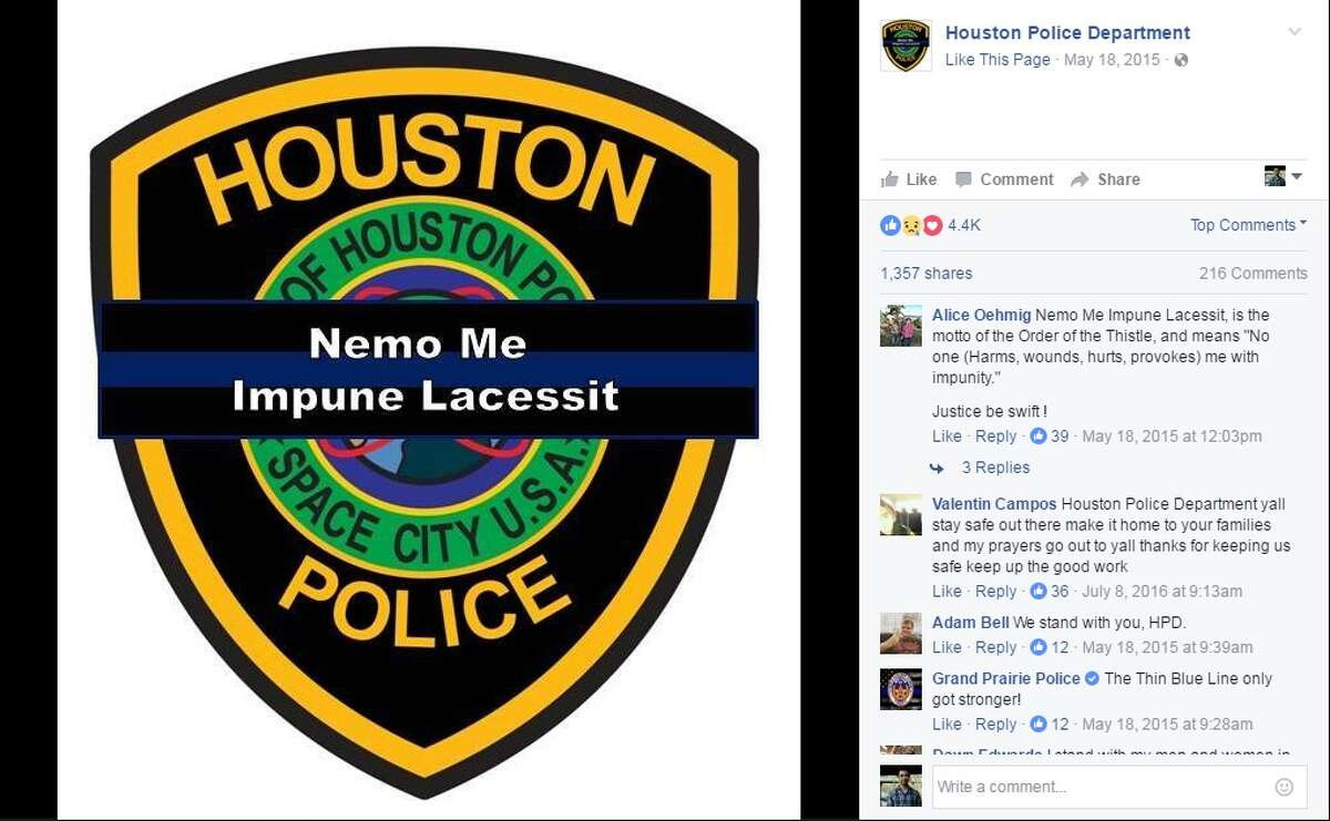 The Houston Police Department changed its Facebook profile page on April 3, 2017, the same day Clint Greenwood, assistant chief deputy with the Harris County Precinct 3 Constable's Office, was shot. Image source: Facebook Click through the slideshow to see images of the investigation following Greenwood's death.