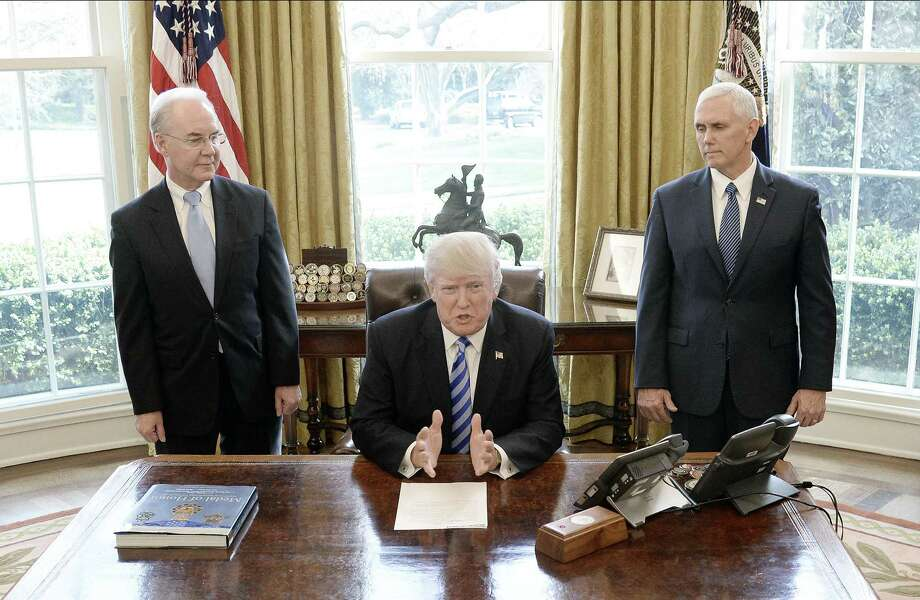 President Donald Trump reacts with HHS Secretary Tom Price, left, and Vice President Mike Pence after Republicans abruptly pulled their health care bill from the House floor, in the Oval Office of the White House on March 24. That episode is but one indication that this presidency is failing. Photo: Pool / / 2017 Getty Images