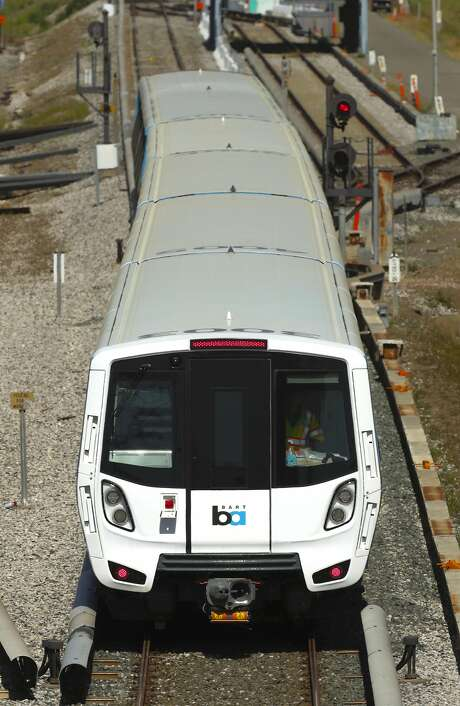 The new BART cars on the test track at the BART maintenance complex, in Hayward, Ca. on Mon. April 3 2017. Photo: Michael Macor, The Chronicle