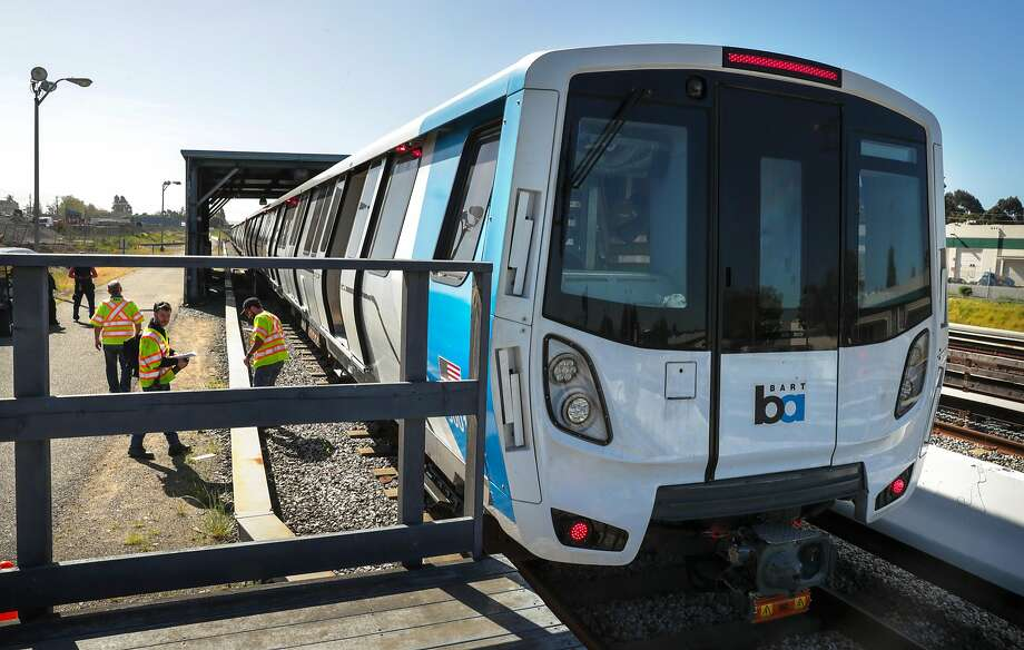 Workers prepare to begin testing new BART cars in Hayward last year. Photo: Michael Macor / The Chronicle