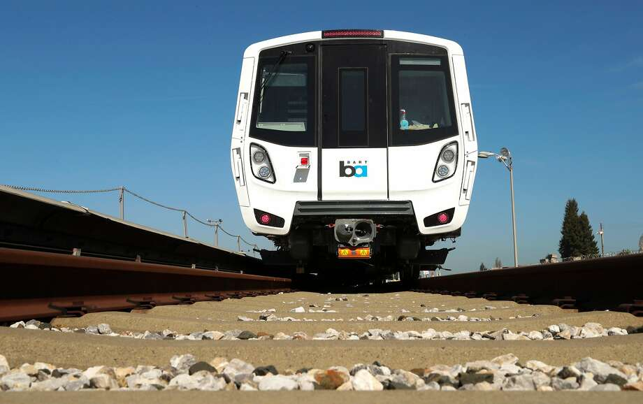 The new BART cars sit along the test track at the BART maintenance complex, in Hayward, Ca. on Mon. April 3 2017. Photo: Michael Macor, The Chronicle